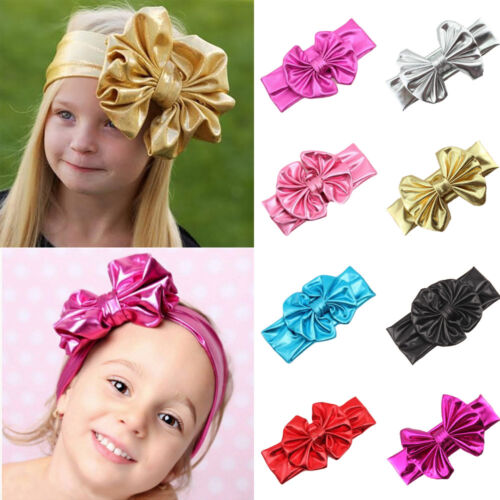 Baby Toddler Girl Child Big Bow Faux Leather Stretchy Headband Hair Head Band