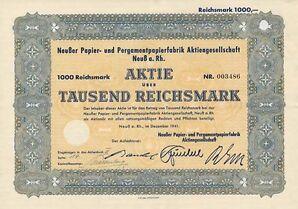 Neußer Papier- und Pergamentpapierfabrik Neuss hist Aktie 1941 Balatum Balamundi