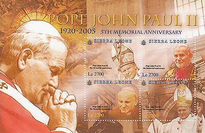 Sierra Leone 2010 MNH Pope John Paul II 5th Memorial Anniv 4v Sheetlet II