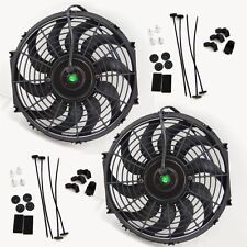 "2x 12"" inch Universal Slim Fan Push Pull Electric Radiator Cooling 12V Mount Kit"