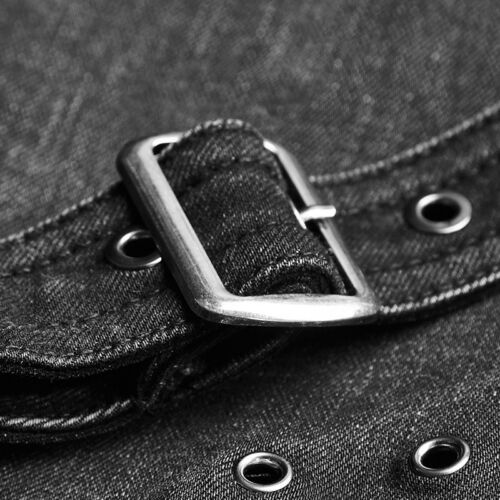 Punk Rave Black Dieslpunk jeans detachable pouch Apocalyptic Gothic Trousers