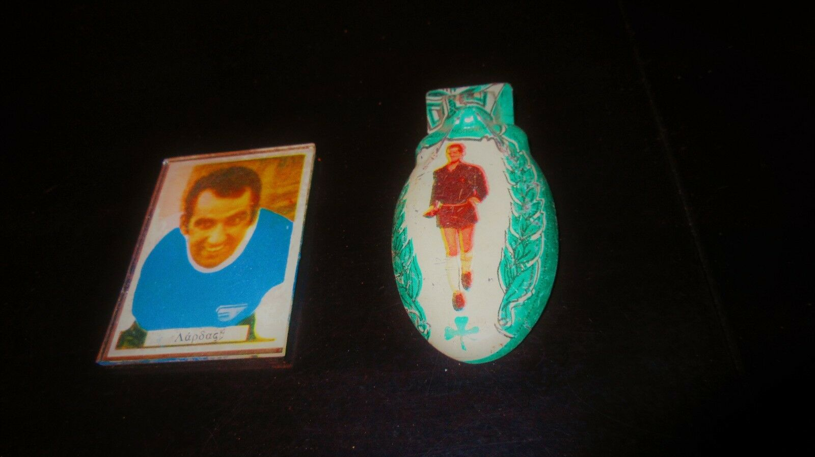 AMAZING VINTAGE GREEK PENNY TOYS FOOTBALL PLAYERS MIRROR & NOISE MAKER 60s