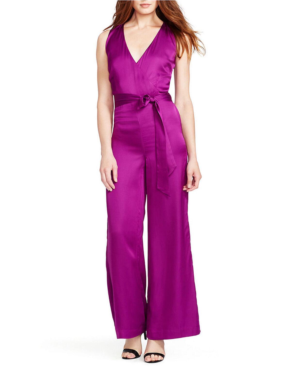 NWT LAUREN by RALPH LAUREN Magenta Purple SATIN JUMPSUIT ROMPER  185.00 S1E1