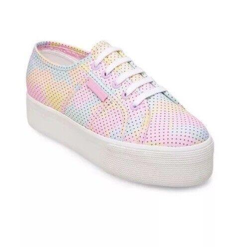 Superga 2790 Multi Polka Dot Platform Sole Fashion Sneakers White Canvas 7 37.7