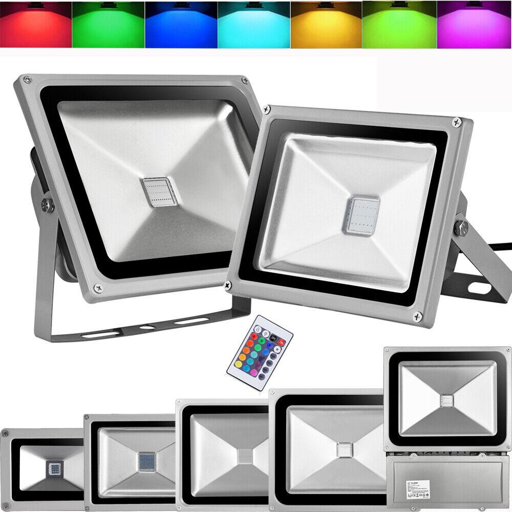 10-100w RGB LED eh Colors cambiantes + mando distancia exterior emisor de ip65