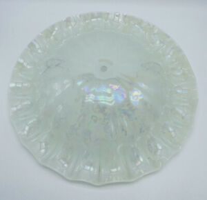Vintage-Iridescent-Glass-Ceiling-Light-Fixture-Lamp-Shade-Ruffled-Scalloped-MCM