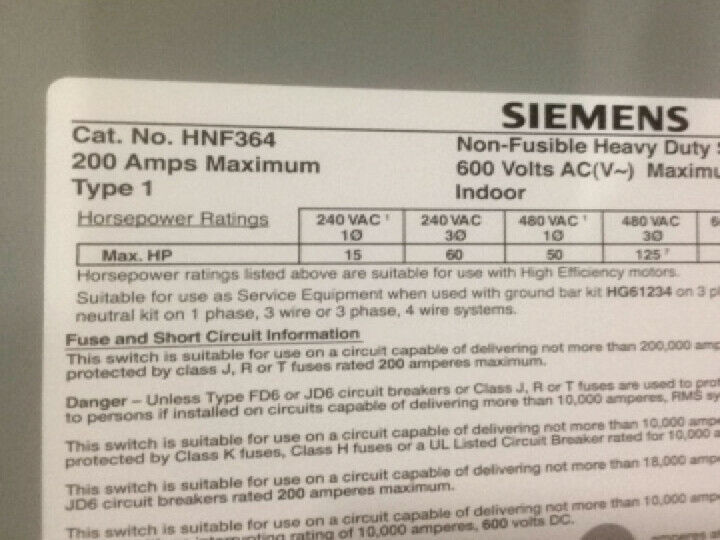 Siemens 3p 200 Amp Non-fusible Safety Switch 600 VAC NEMA 1 HNF364 for sale online
