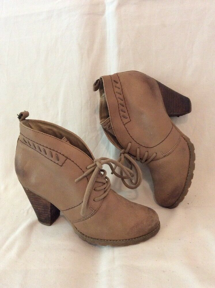 Hush Puppies Brown Ankle Leather Boots Size 5