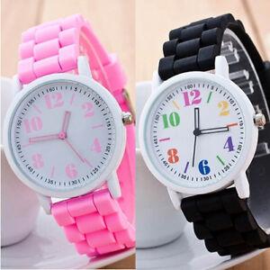 Watch-Silicone-Wrist-Fashion-Black-or-Pink-Women-Sport-Girls-Quartz-Children-Kid
