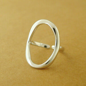 Solid-925-Sterling-Silver-Chunky-Bright-Bent-Oval-Circle-Round-Open-Band-Ring