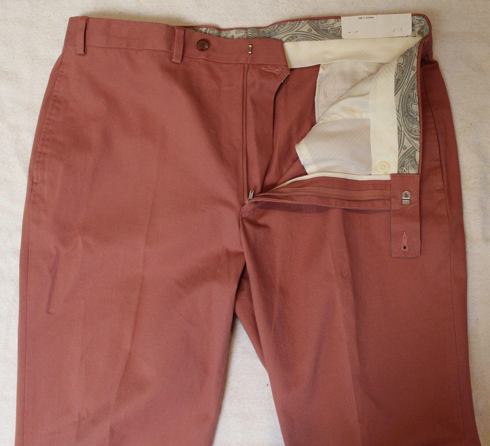 Ralph Lauren Mens Pale Red Flat-Front Cotton Dress Pants NWT  Size 34 x 32