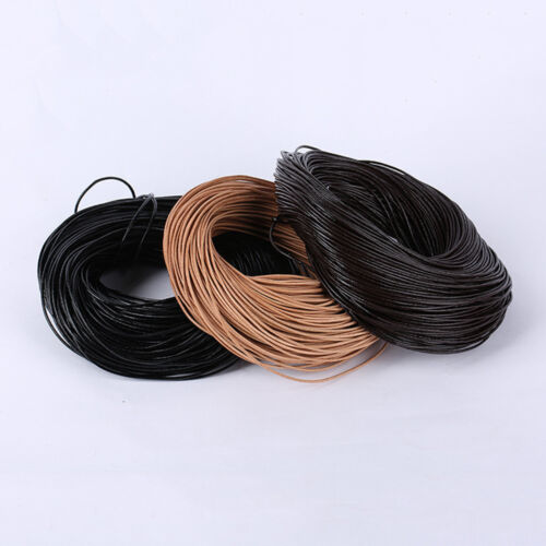1M Solid Round Leather Rope Wire Cord Bracelet Jewelry Finding Craft DIY 3//4//5mm