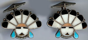 VINTAGE-ZUNI-INDIAN-SILVER-INLAY-TURQUOISE-CORAL-ONYX-SHELL-SUN-GOD-CUFFLINKS
