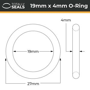 38mm x 2.5mm 43mm OD Pack of 10 Nitrile Rubber O-Rings 70A Shore Hardness