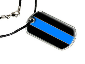 Military Dog Tag Black Satin Cord Necklace Thin Blue Line Police