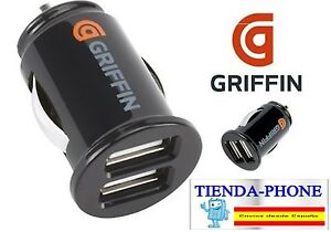 ADAPTADOR-CARGADOR-DUAL-DOBLE-USB-MECHERO-PARA-IPHONE-5S-COCHE-GRIFFIN-2A