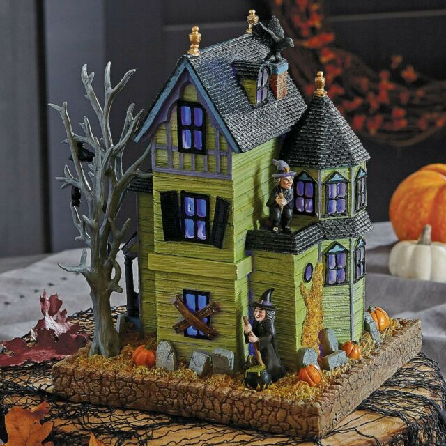 Lenox Halloween Lighted Haunted House Figurine Black Cats