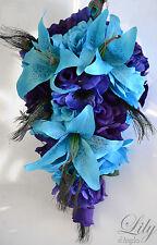 17 PIECE PACKAGE Wedding Bridal Cascade Bouquet Peacock Purple Turquoise Flower