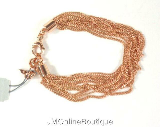 Fossil Rose Gold Tone Multi Strand Thin Chain Bracelet Joa00320791