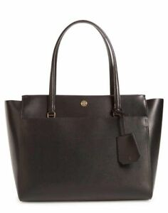 cde6244dc4f Tory Burch Parker Large Leather Tote Handbag 37169 Black cardamom ...