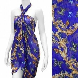 Sarong-Butterfly-Pattern-Periwinkle-Crinkled-Fabric-Lightweight-Wrap-Scarf