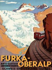 TRAVEL TOURISM TRANSPORT TRAIN SWISS ALPS AVALANCHE ART POSTER PRINT LV4306