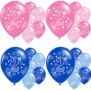 Girls Pink Boys Blue 2nd Birthday Party Pearlised Latex Printed