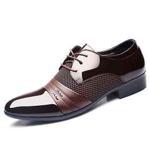 Men-039-s-Smart-Oxford-Leather-Pointed-Toe-Business-Formal-Office-Work-Wedding-Shoes