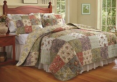 King Size Quilt 3 Pc Bedding Set Reversible Patchwork 100