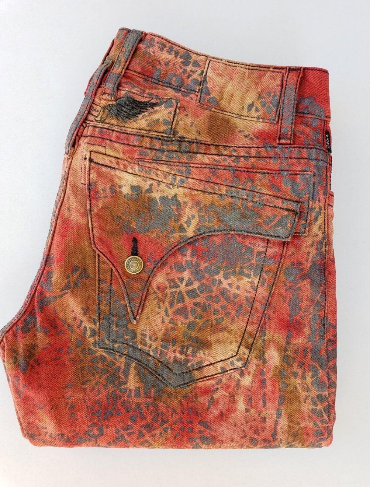 New Men's ROBIN'S JEAN sz 40 Long Flap Straight Leg Jeans -BlkWings