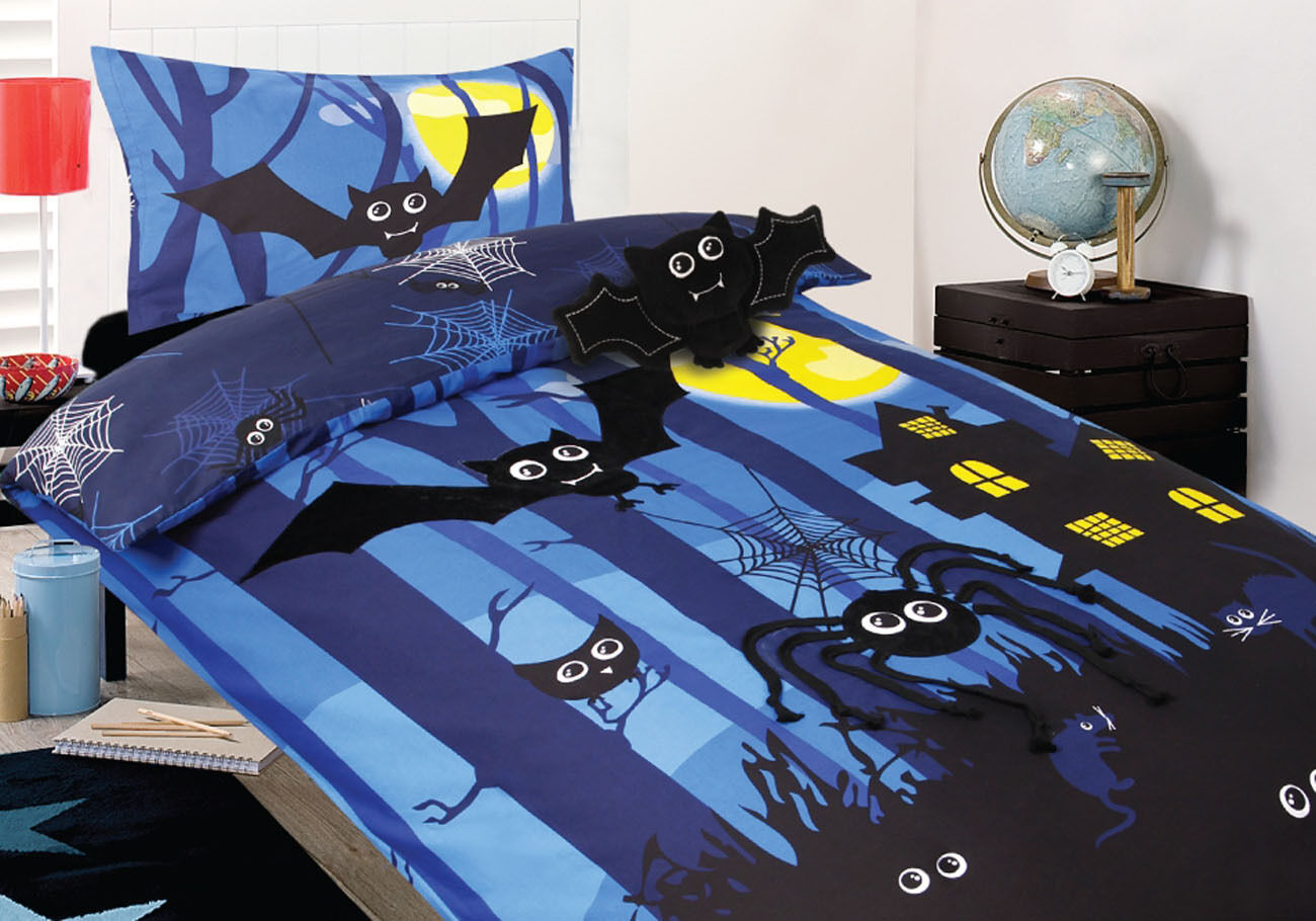Nocturnal Bats Duvet Doona Quilt Cover Set   + Bat Cushion   Spider Webs   Rats