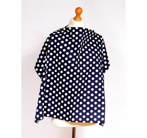 Navy Blue /& White Spots Pattern Large Lightweight Cotton Breastfeeding Cover