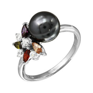 Sterling-Silver-Flower-Ring-w-Black-Pearl-amp-Multi-Color-CZ-Stones