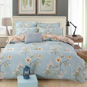 Country Floral Cotton Duvet Cover Doona Cover Set Bedding Single Queen King Size