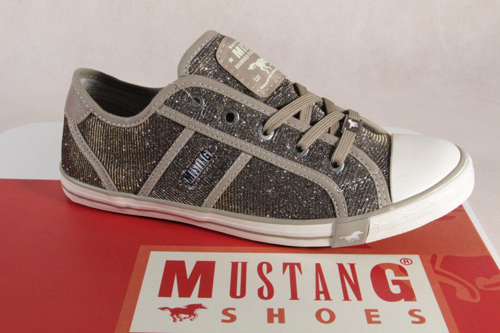 Mustang Chaussures Sport Chaussures à Lacets Basses Doré Textile Neuf