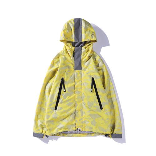 Hot Men/'s A Bathing Ape Jaw Jacket Bape Camouflage Windbreaker Zip Hoodie Coats