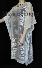 Burnout Velvet Caftan Dress Duster Kimono Black Fringes Maya Matazaro
