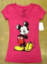 NEW Disney Juniors Womens Slim Fit V-Neck Hot Pink TShirt  size Small Summer Fun