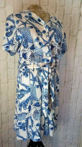 MEDIUM Vintage 80s ROMPER Beach SEA SHELLS White bluee by LAVON CHEERFUL CORP
