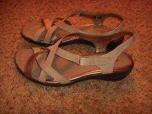 Ecco Store Ecco Silver Bronze Strappy Sandals Womens Size 41