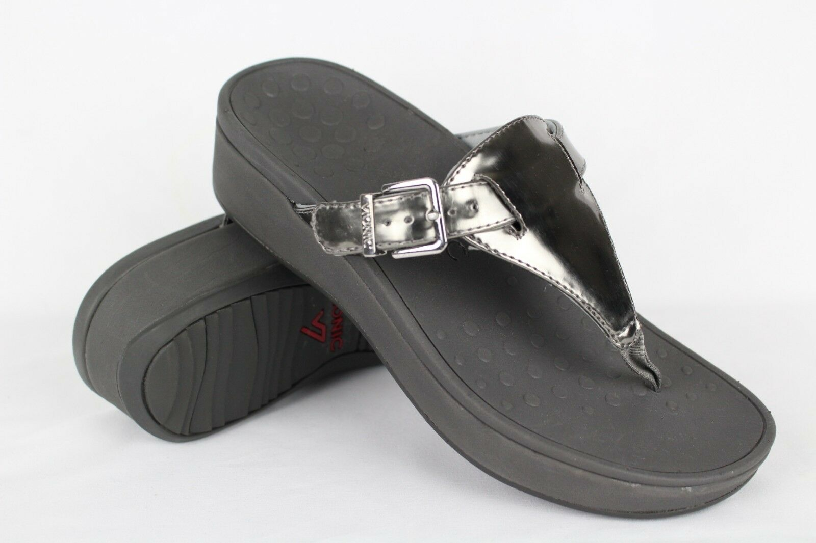 Vionic Orthaheel Women's Cooper Wedge Thong Sandals Size 8 Pewter