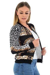 Womens-Baroque-Leopard-Scarf-Print-Long-Sleeve-Zip-Bomber-Jacket-Ladies-Coat-Top