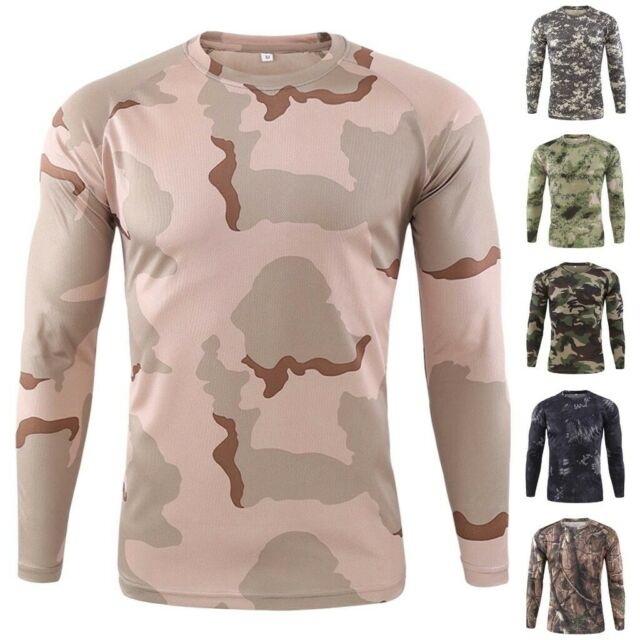 CA Men Slim Fit Sports Fitness Camouflage Long Sleeves Sweat T-shirt Blouse Top