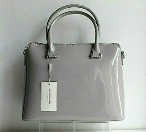 Pale Grey Patent Tote Shoulder Handbag