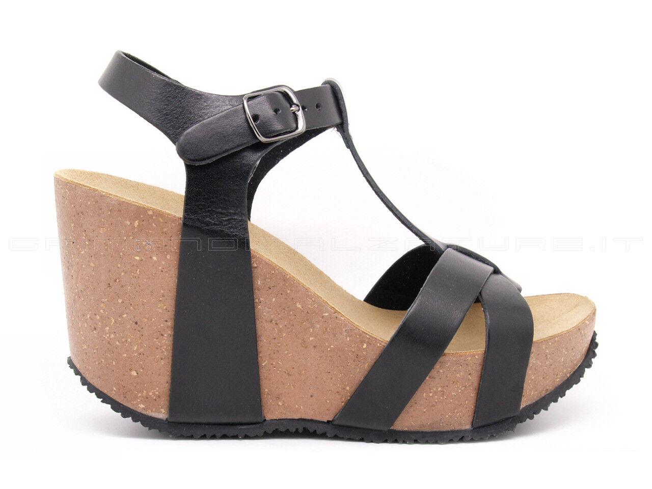 BioNatura sandalo T-Bar zeppa alta in pelle liscia nera con cinturino regolabile
