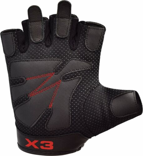 RDX Weight lifting Gloves Gym Leather Fitness Training Bodybuilding Workout Yoga