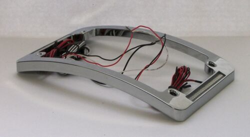 Dual LED Curved Motorcycle License Plate Frame w// Brake OR Turns Chrome Finish