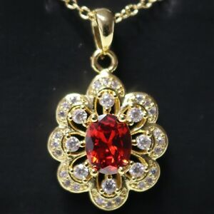 Red-Ruby-AAA-CZ-Flower-Pendant-Necklace-18-034-Chain-14K-Yellow-Gold-Plated-Jewelry