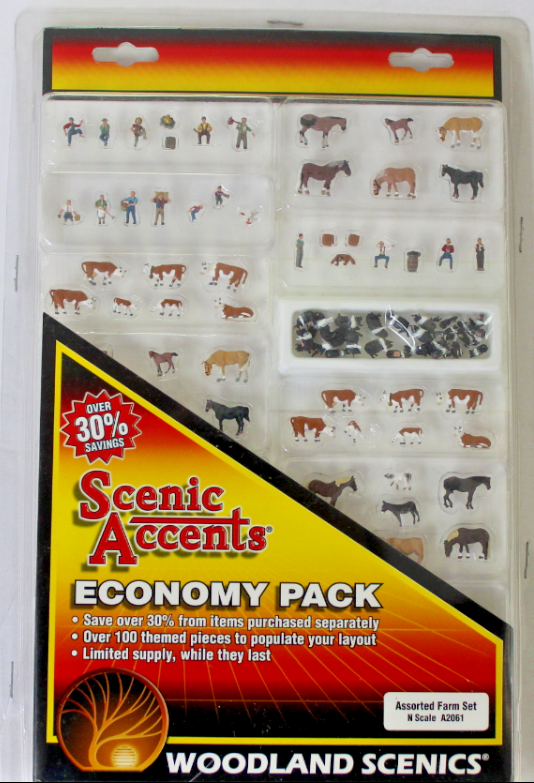 Woodland Scenics Assorted Farm Set, Animals, Farmers in N Scale A 2061 CAL
