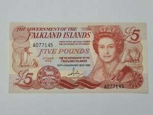 1983-Falkland-Islands-British-034-Commemorative-034-5-Pounds-039-UNC-039-P-12a-Prefix-A